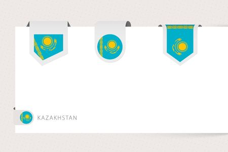 Label flag collection of Kazakhstan in different shape. Ribbon flag template of Kazakhstan hanging from paper or different surface.
