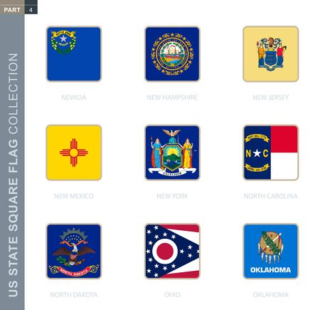 Square flags collection of US states. USA state square flags of Nevada, New Hampshire, New Jersey, New Mexico, New York, North Carolina, North Dakota, Ohio, Oklahoma.