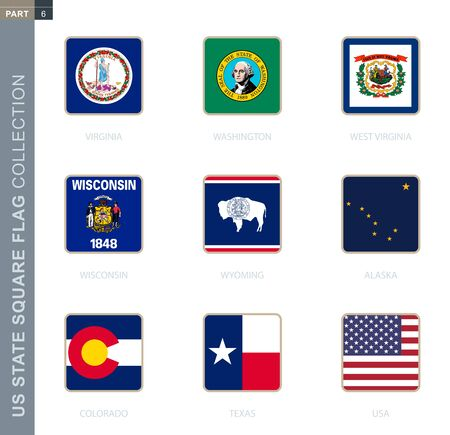 Square flags collection of US states. USA state square flags of Virginia, Washington, West Virginia, Wisconsin, Wyoming, Alaska, Colorado, Texas, USA.