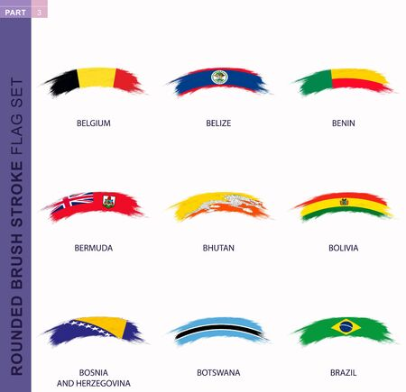 Rounded grunge brush stroke flag set, flags of Belgium, Belize, Benin, Bermuda, Bhutan, Bolivia, Bosnia and Herzegovina, Botswana, Brazil