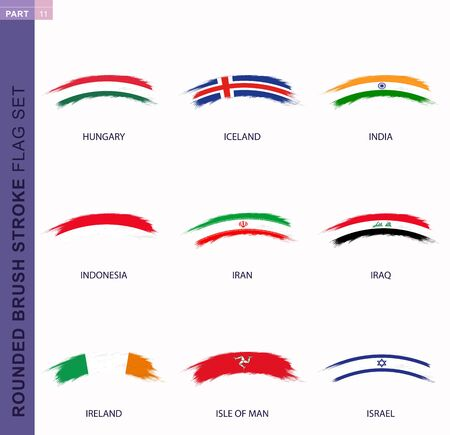 Rounded grunge brush stroke flag set, flags of Hungary, Iceland, India, Indonesia, Iran, Iraq, Ireland, Isle of Man, Israel