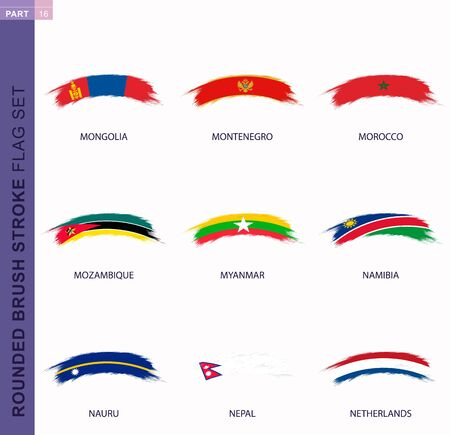 Rounded grunge brush stroke flag set, flags of Mongolia, Montenegro, Morocco, Mozambique, Myanmar, Namibia, Nauru, Nepal, Netherlands 일러스트