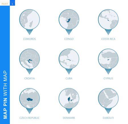 Collection of map pin with detailed map and neighboring countries, 9 map pins of Comoros, Congo, Costa Rica, Croatia, Cuba, Cyprus, Czech Republic, Denmark, Djibouti Ilustração