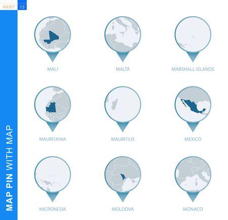 Collection of map pin with detailed map and neighboring countries, 9 map pins of Mali, Malta, Marshall Islands, Mauritania, Mauritius, Mexico, Micronesia, Moldova, Monaco Ilustração