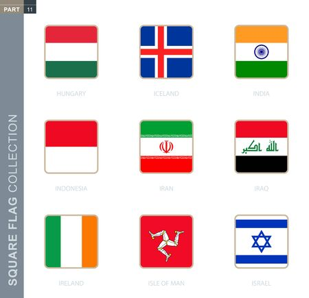 Square flags collection of the world. Square flags of Hungary, Iceland, India, Indonesia, Iran, Iraq, Ireland, Isle of Man, Israel Illusztráció