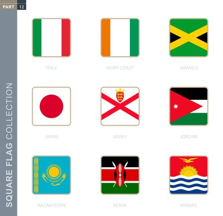 Square flags collection of the world. Square flags of Italy, Ivory coast, Jamaica, Japan, Jersey, Jordan, Kazakhstan, Kenya, Kiribati Vectores