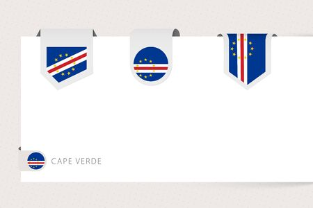Label flag collection of Cape Verde in different shape. Ribbon flag template of Cape Verde hanging from paper or different surface.