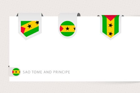 Label flag collection of Sao Tome and Principe in different shape. Ribbon flag template of Sao Tome and Principe hanging from paper or different surface.