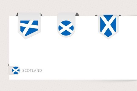 Label flag collection of Scotland in different shape. Ribbon flag template of Scotland hanging from paper or different surface.