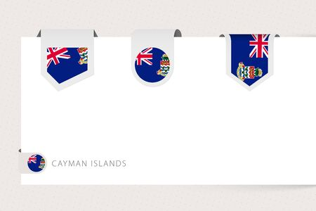 Label flag collection of Cayman Islands in different shape. Ribbon flag template of Cayman Islands hanging from paper or different surface.