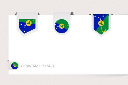 Label flag collection of Christmas Island in different shape. Ribbon flag template of Christmas Island hanging from paper or different surface.
