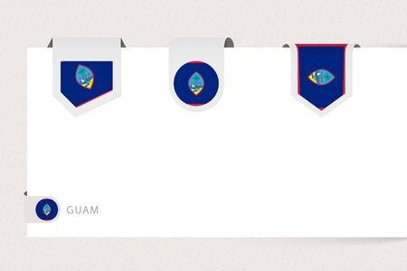 Label flag collection of Guam in different shape. Ribbon flag template of Guam hanging from paper or different surface.