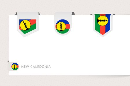 Label flag collection of New Caledonia in different shape. Ribbon flag template of New Caledonia hanging from paper or different surface.