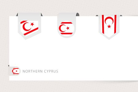 Label flag collection of Northern Cyprus in different shape. Ribbon flag template of Northern Cyprus hanging from paper or different surface.
