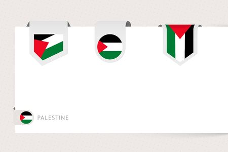 Label flag collection of Palestine in different shape. Ribbon flag template of Palestine hanging from paper or different surface. 向量圖像