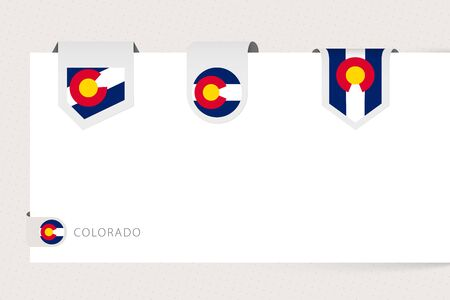 Label flag collection of US state Colorado in different shape. Ribbon flag template of Colorado hanging from paper or different surface.