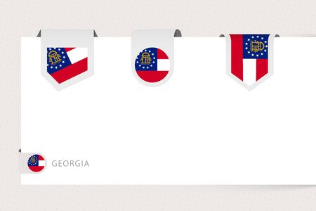 Label flag collection of US state Georgia in different shape. Ribbon flag template of Georgia hanging from paper or different surface.