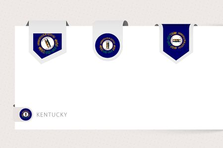 Label flag collection of US state Kentucky in different shape. Ribbon flag template of Kentucky hanging from paper or different surface.