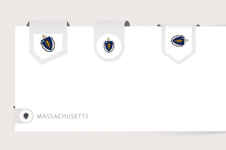 Label flag collection of US state Massachusetts in different shape. Ribbon flag template of Massachusetts hanging from paper or different surface. Ilustração