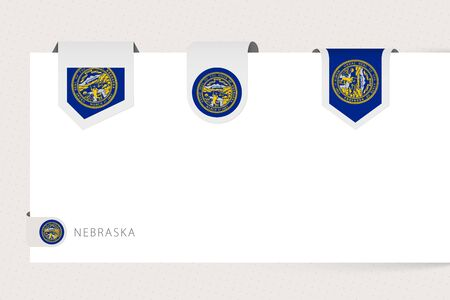 Label flag collection of US state Nebraska in different shape. Ribbon flag template of Nebraska hanging from paper or different surface.
