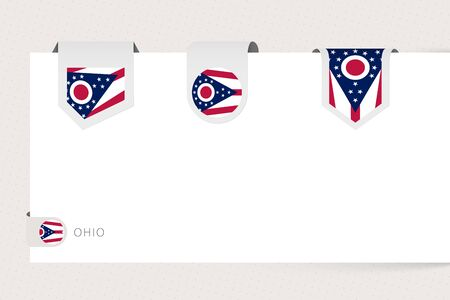 Label flag collection of US state Ohio in different shape. Ribbon flag template of Ohio hanging from paper or different surface. Ilustração