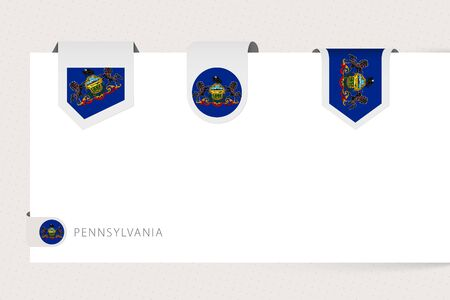 Label flag collection of US state Pennsylvania in different shape. Ribbon flag template of Pennsylvania hanging from paper or different surface.