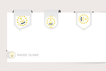 Label flag collection of US state Rhode Island in different shape. Ribbon flag template of Rhode Island hanging from paper or different surface. Ilustração