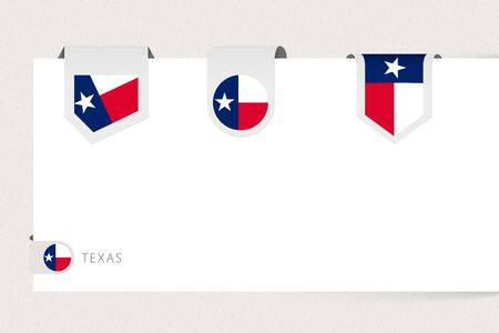 Label flag collection of US state Texas in different shape. Ribbon flag template of Texas hanging from paper or different surface. Ilustração