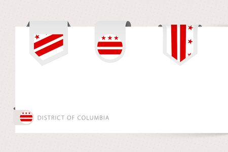 Label flag collection of US state District of Columbia in different shape. Ribbon flag template of District of Columbia hanging from paper or different surface. Ilustração
