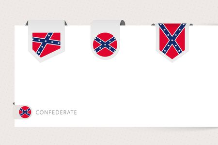 Label flag collection of US state Confederate in different shape. Ribbon flag template of Confederate hanging from paper or different surface.