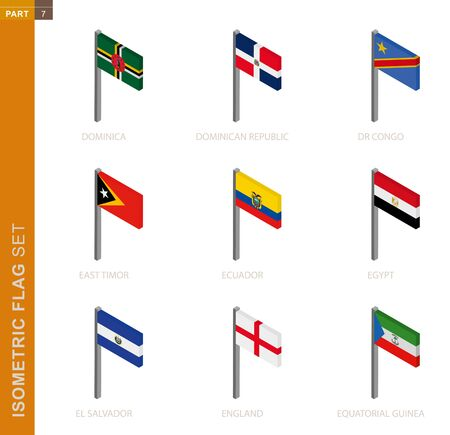 Isometric flag set, Flagpole in Isometric dimension. Collection of nine 3D vector flag. Иллюстрация