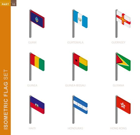 Isometric flag set, Flagpole in Isometric dimension. Collection of nine 3D vector flag.