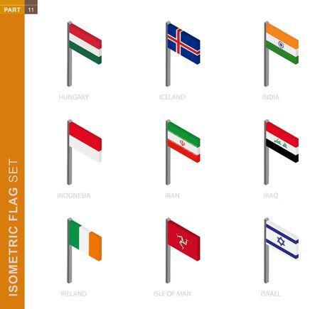 Isometric flag set, Flagpole in Isometric dimension. Collection of nine 3D vector flag. Illusztráció