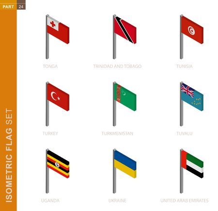Isometric flag set, Flagpole in Isometric dimension. Collection of nine 3D vector flag. 일러스트