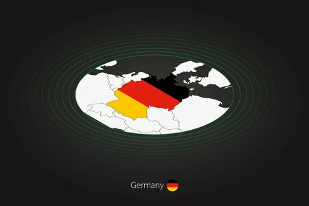 Germany map in dark color, oval map with neighboring countries. Vector map and flag of Germany