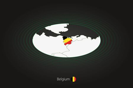 Belgium map in dark color, oval map with neighboring countries. Vector map and flag of Belgium