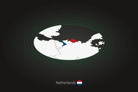 Netherlands map in dark color, oval map with neighboring countries. Vector map and flag of Netherlands