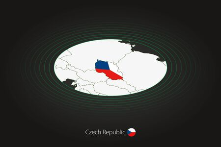 Czech Republic map in dark color, oval map with neighboring countries. Vector map and flag of Czech Republic