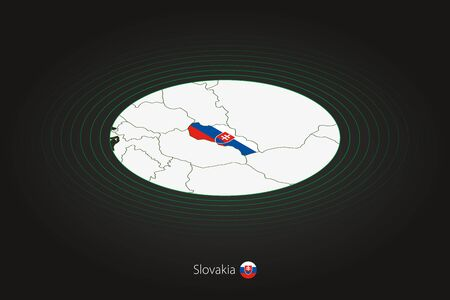 Slovakia map in dark color, oval map with neighboring countries. Vector map and flag of Slovakia Illusztráció