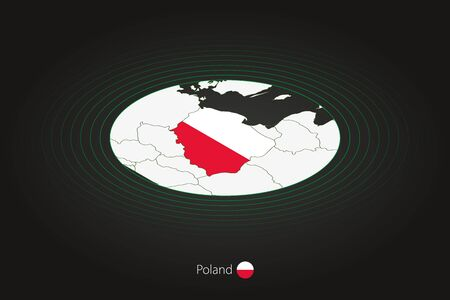 Poland map in dark color, oval map with neighboring countries. Vector map and flag of Poland
