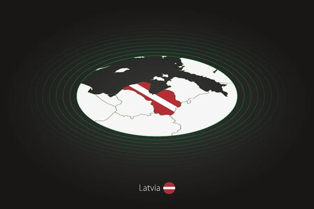 Latvia map in dark color, oval map with neighboring countries. Vector map and flag of Latvia