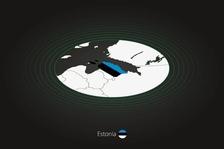 Estonia map in dark color, oval map with neighboring countries. Vector map and flag of Estonia