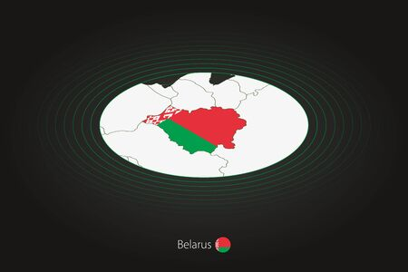 Belarus map in dark color, oval map with neighboring countries. Vector map and flag of Belarus Illusztráció