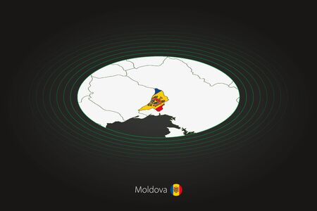 Moldova map in dark color, oval map with neighboring countries. Vector map and flag of Moldova