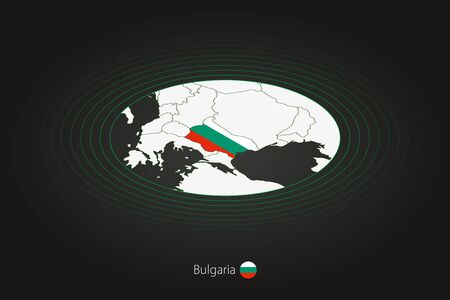 Bulgaria map in dark color, oval map with neighboring countries. Vector map and flag of Bulgaria