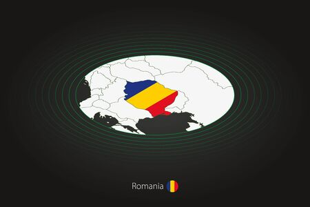 Romania map in dark color, oval map with neighboring countries. Vector map and flag of Romania