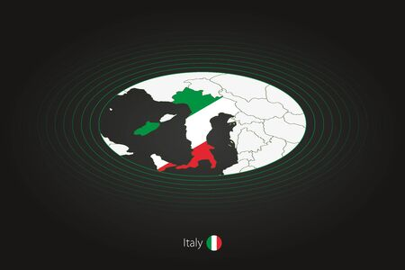 Italy map in dark color, oval map with neighboring countries. Vector map and flag of Italy