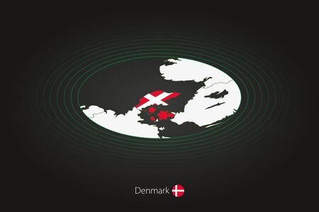 Denmark map in dark color, oval map with neighboring countries. Vector map and flag of Denmark Illusztráció