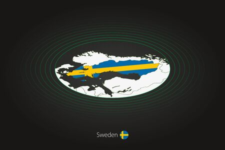 Sweden map in dark color, oval map with neighboring countries. Vector map and flag of Sweden