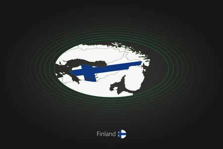 Finland map in dark color, oval map with neighboring countries. Vector map and flag of Finland Illusztráció